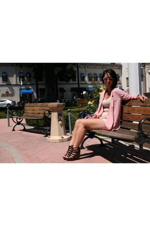 pink blazer H&M blazer - H&M shorts - Jessica Simpson wedges
