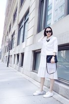 white shirt - black Celine bag - white acne sneakers - white Zara skirt