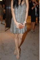 dress - brown heels