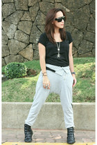black Bershka top - heather gray random from Hong Kong pants - silver random bra