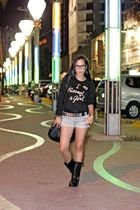 random from Hong Kong sweater - Wetseal shorts - Ebay boots - Ebay accessories