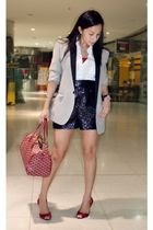 random from Hong Kong blazer - H&M blouse - Forever 21 shorts - janilyn shoes