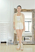 eggshell lace UO cardigan - off white Bershka shorts - beige DAS wedges