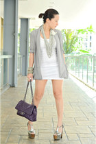 silver H&M necklace - white Topshop dress - heather gray cotton on blazer