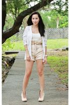 thrifted blazer - Bayo shorts - online shoes
