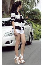 H&M blazer - Zara shorts - Bebe shoes