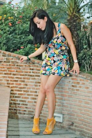 blue random from Hong Kong dress - light orange UrbanOG shoes - black Hot Topic