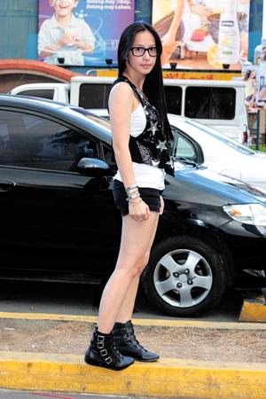 random from Hong Kong vest - Topshop shorts - gojanecom boots