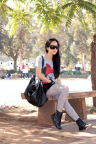 Forever 21 t-shirt - gojanecom boots - Gucci sunglasses - Topshop skirt
