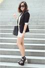 Black-zara-blazer-white-bershka-skirt-chartreuse-forever-21-top
