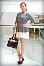 Harrods-bag-forever-21-skirt-asian-vogue-wedges-wardrobe-check-top