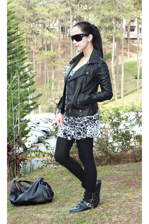 Charlotte Russe dress - UO jacket - Forever 21 stockings - gojanecom boots