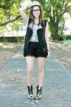 silver doc martens boots - black random from Hong Kong skirt - black Forever 21