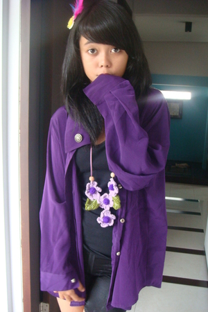 purple unknown blouse - purple handmade necklace