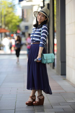 stripes abercrombie and fitch blouse - midi Forever 21 skirt