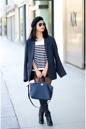 menswear Uniqlo blazer - Jessica Simpson boots - beret Uniqlo hat