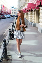 white Kurzeneva dress - silver Charles & Keith boots - white Mango jacket