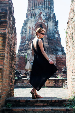black Vila dress - ivory Charles & Keith bag - black asos sunglasses