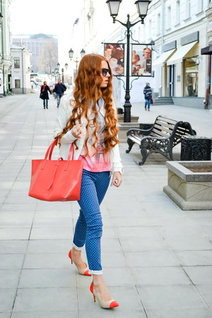 sky blue BeFree jeans - white BeFree jacket - salmon BeFree bag