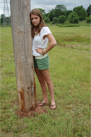Forever21 blouse - abercrombie and fitch shorts - Rainbows shoes - bracelet - be