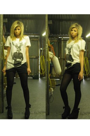white Topshop t-shirt - black Topshop shorts - black Primark tights - black Tops