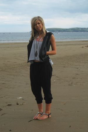 black Topshop jacket - silver Topshop vest - black Primark shoes - purple hollis