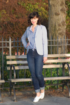 light blue vintage jacket - denim Indi Denim jeans - banana republic shirt