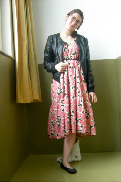 Red Taobao Dresses Black Faux Leather Jackets Black Ballerina