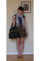Forever21 t-shirt - Gap skirt - Sam Moon purse - Sam Moon scarf - shoes