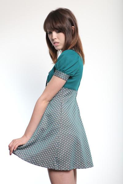 teal 60s dress vintage dress