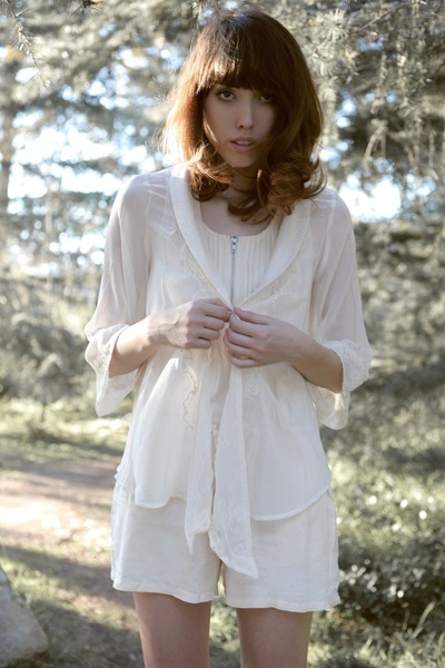ivory sheer-lace Sugarlips blouse - ivory Sugarlips romper