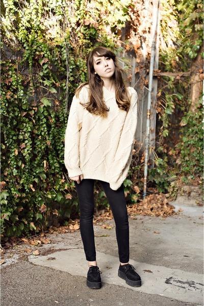 wool vintage sweater - black creepers TUK shoes