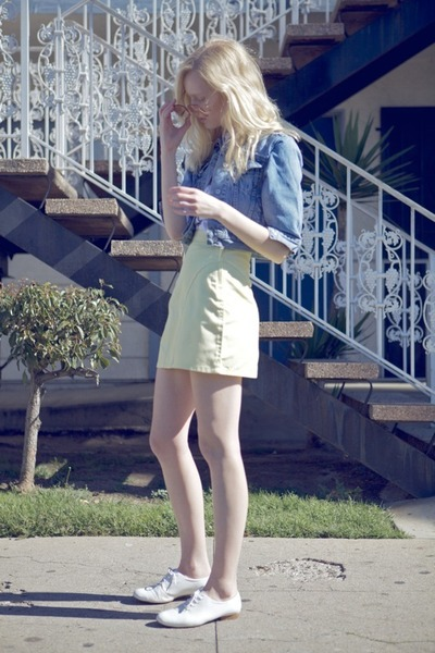 white vintage shoes - light blue Levis jacket - light yellow vintage skirt