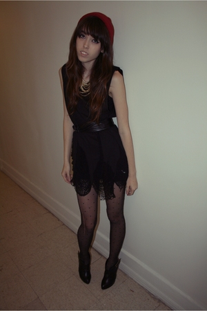 black Gundam dress - black tights - black Forever 21 shoes - red American Appare
