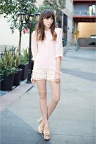 light pink sheer vintage blouse - ivory ruffle shorts vintage shorts