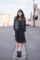 black cage dress free people dress - black heels Jeffery Campbell boots