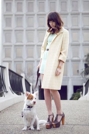 eggshell 1 vintage coat - lime green 1 vintage dress