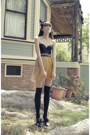 gold Rodarte skirt - black top - black Forever 21 socks - black payless 4 years