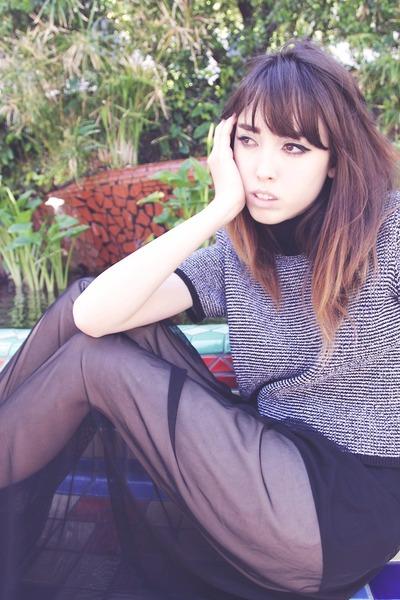 black sheer I MADE IT skirt - dark gray vintage sweater