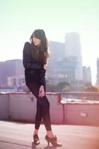 black H&M jacket - black American Apparel shirt - black Wet Seal leggings - blac