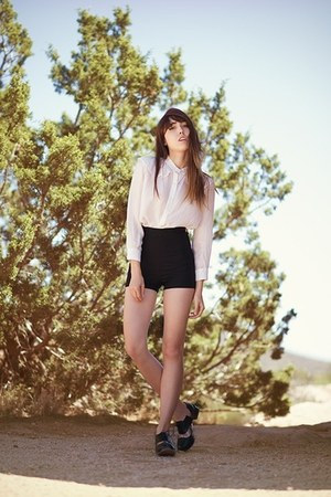 black vintage shorts - white blouse