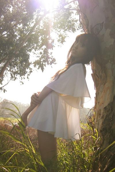 white dress - black zozocouture accessories