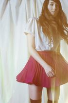 pink Vintage by Zozo skirt - white blouse - black Forever 21 socks
