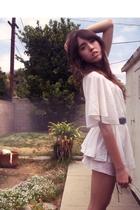 white swapmeet dress - gold swapmeet accessories - brown belt - white intimate