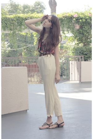 white thrifted pants - black thrifted shoes - blue thrifted blouse - gold thrift