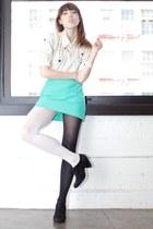 aquamarine vintage skirt - white geometric print vintage blouse