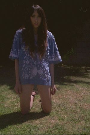 blue blouse - black American Apparel shorts