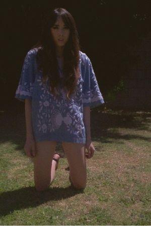 blue blouse - black American Apparel shorts