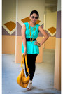 Mustard-bag-aquamarine-top-dark-green-belt