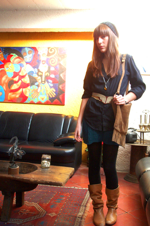 black shirt - blue skirt - orange boots - brown belt - black hat - brown accesso